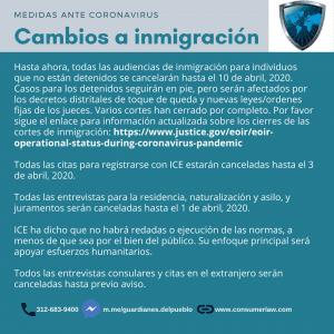 Cambios a inmigración